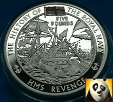 2004 ALDERNEY £5 Five Pound HMS Revenge History of Royal Navy Silver Proof Coin