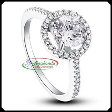 Round 1.45Ct Synthetic Diamond Wedding Woman Ring Pure Silver 925 + White Gold