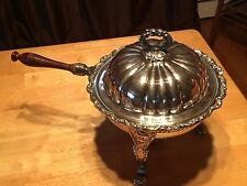 BEAUTIFUL VINTAGE POOLE OLD ENGLISH LIONS HEAD/FOOT SILVERPLATE CHAFING DISH