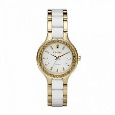 NEW DKNY NY8140 LADIES WHITE AND GOLD CERAMIC WATCH - 2 YEAR WARRANTY
