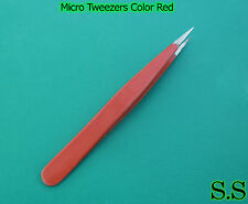 "QUALITY MICRO EYEBROW TWEEZERS 3.5"" FINE POINT COLOR RED"