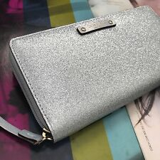 Kate Spade Silver Glitz Haven Lane Neda Zip Around Continental Wallet WLRU2709