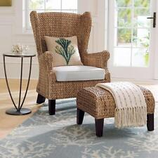 Rattan & Seagrass Woven WINGBACK CHAIR & Cushion Contemporary Furniture Natural