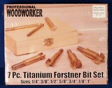 * Professional Woodworker 7-Piece 7Pc Titanium Forstner Drill Bit Set + Case NEW