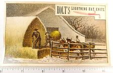 Lightning Hay Knife, Hiram Holt & Co, East Wilton, ME Victorian Trade Card F52