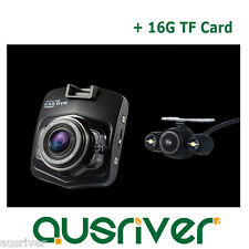 "1080P Dual Car Camera Dash Video DVR Recorder Night Vision 2.5"" LCD+16G TF Card"