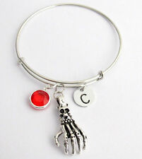 Personalized Skull Hand Expandable Bangle Bracelet Antique Silver Halloween item