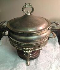 Vintage Silver Plated Raised Footed Serve Stand with Pot Dish/Marinex Casserole