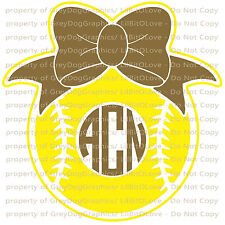 Custom Softball Monogram Vinyl Decal 2 Colors Your Initials Bow on Ball Sticker
