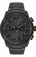 New Citizen Eco-Drive Ecosphere Black Ion Steel Bracelet Mens Watch CA4184-81E
