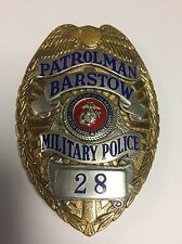 Obsolete Barstow Patrolman Military Police Badge Marine Corps Navy Ca California