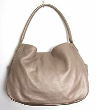 ANN TAYLOR GOLD METALLIC GENUINE LEATHER SHOULDER BAG TOTE HOBO HANDBAG PURSE