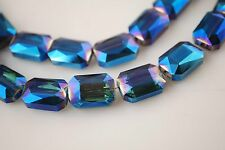 Bulk 10pcs Blue Colorized Glass Crystal Rectangle Beads 18x12mm Spacer Findings