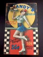 """Andy's Drive-In 50's Car Hop Service In Your Car Vintaged Metal Sign 10"""" X 16"""""""
