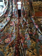 Toile Drapes Curtains Panels French Country Floral & Scroll Broadcloth Lined