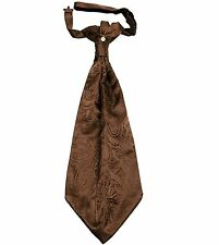 New 100% Polyester Men's Paisley Ascot Cravat Only Wedding Prom formal Brown
