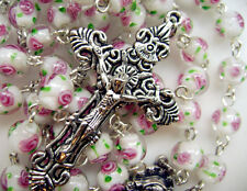 Handmade Coloured glaze PINK ROSE BEADS ROSARY CROSS CRUCIFIX CATHOLIC NECKLACE