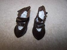 Vintage Doll High Strap Button-Up Brown Leather  Shoes Boots NEW OLD STOCK