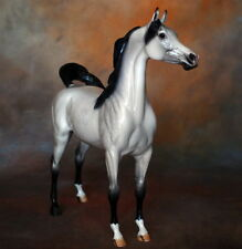 Peter Stone Model Horse Arched Head w/Swish Tail Arab Dapple Grey w/Black Points