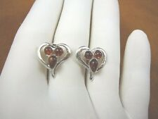 (pe28-22) AMBER orange HEART Baltic Poland .925 Sterling SILVER stud EARRINGS