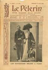 Portrait Albert Ier de Belgique & Élisabeth en Bavière à Paris 1910 ILLUSTRATION