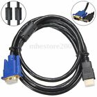 1.8M 6FT 1080P HD HDMI Male To Female Video Converter Adapter VGA Cable PC TV