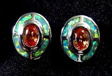 Sterling 925 Silver SF Stud Earrings Green Lab Fire Opal & 6*4mm Morganite