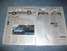 """1983 Mazda RX-7 Vintage 2pg Ad """"...Great Experience on Cal Highway 1"""""""