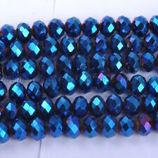 40Pcs Metallic Blue AB2X Quality Czech Crystal Faceted Rondelle Beads 8MM