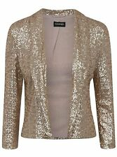 New Women Ladies gold Sequin  Jacket Size 14  Blazer