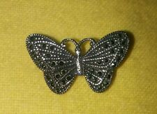 Vintage MARCASITE BUTTERFLY 925 FAS STERLING SILVER PENDANT / PIN INSECT