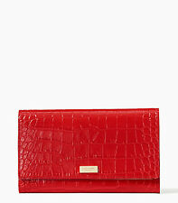 Kate Spade New York Travel Wallet Phoenix Bristol Drive Croc Red New