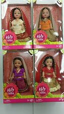 "Indian Doll Kelly Size06""x04"" Set of 4 Orange, Red Purple and Cream"
