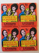 1978 VINTAGE Four Packs Topps THREE'S COMPANY Sticker Card Gum Wax Pack Lot