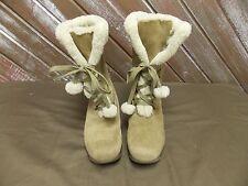 Sporto JOJO Snow Boots Suede Faux Fur Lined Wedge Heel Women's Tan Size 9.5 M