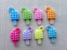 30 x ICE LOLLY ~ PASTEL PENDANT CHARM BEADS ~ Food Pink Blue Green Yellow