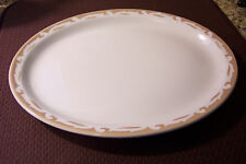 VINTAGE WELLSVILLE CHINA COMPANy USA OVAL SERVING PLATTER white tan