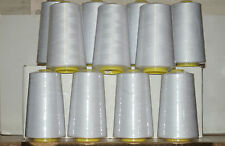 White Overlocking Sewing Machine Polyester Thread Four 5000yd Cones For £7.99
