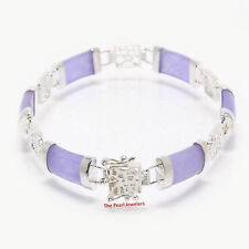 Five Partitions 925 Sterling Silver and Six Lavender Jade Segments Bracelets
