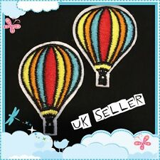 2 x Parachute Rainbow Hot Air Balloon Iron / Sew On Embroidered Cloth Patch