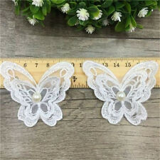 FD3766 Pearl Lace Butterfly DIY Patch Embroidery Home Collar Dress Patch 2PCs♫