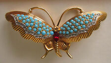 JOMAZ GOLD TONE PAVE TURQUOISE AND RUBY BUTTERFLY PIN BROOCH VINTAGE