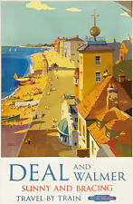 Vintage Rail travel railway poster  A4 RE PRINT Deal and Walmer