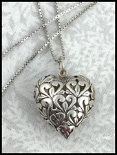 """VINTAGE .925 Sterling Silver - Puffy Filigree Heart Pendant - Necklace 20"""""""