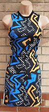 TOPSHOP TRIBAL AZTEC WHITE LINES SIDES SPORTY BODYCON TUBE PENCIL DRESS 10 S