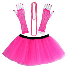 USA 80's Neon UV Adult Tutu Skirt Beads Hen Fancy Dress Party Costumes 3PCS/Set