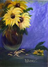 Sunflowers Vase Acrylic painting 9x12 Original on Canvas Board Penny Lee StewArt