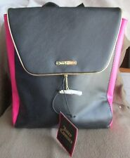 Juicy Couture PVC Leather Backpack ,Black and Pink, New With Tags, purse
