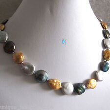 """18"""" 13-15mm Gold Gray Peacock Coin Freshwater Pearl Necklace"""