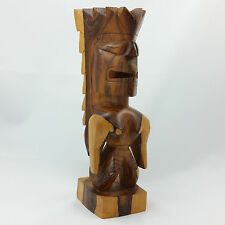 Tiki God Statue Figure Polynesian Hawaiian Diety Hand Carved Wooden